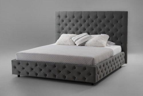 Łóżko PARIS 160x200cm ciemnoszary aksamit Chesterfield