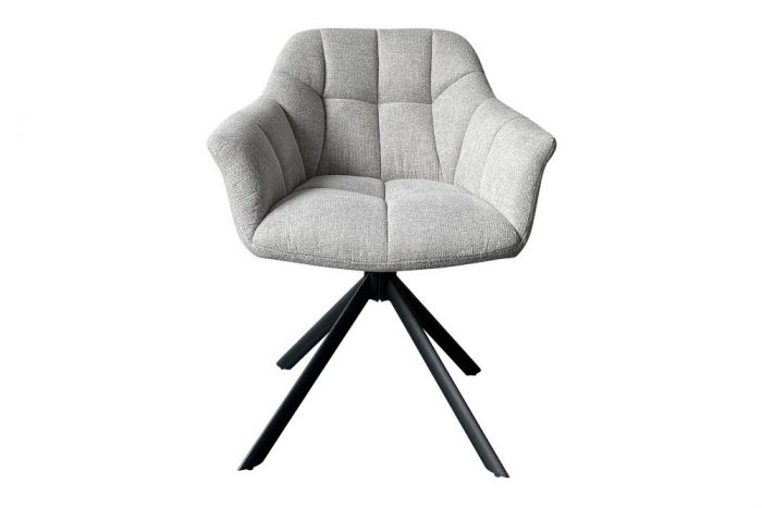 Krzesło obrotowe PAPILLON jasnoszare pikowane
