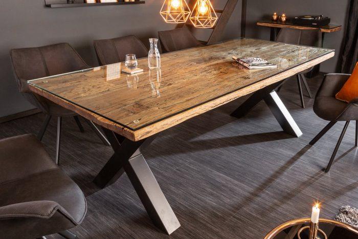 Stół BARRACUDA antyczny teak 220cm ze szklanym blatem
