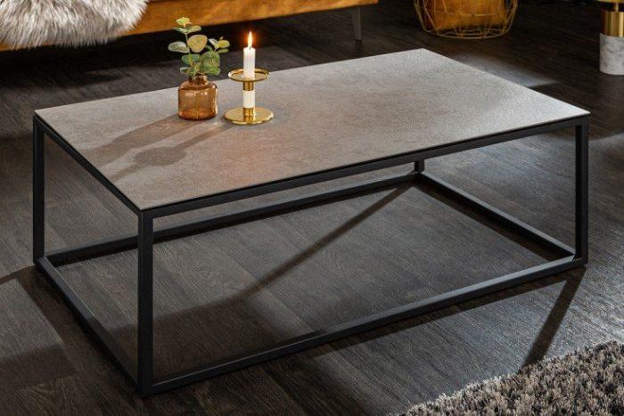Designerski stolik kawowy SYMBIOSE 100cm szara ceramika o wyglądzie betonu