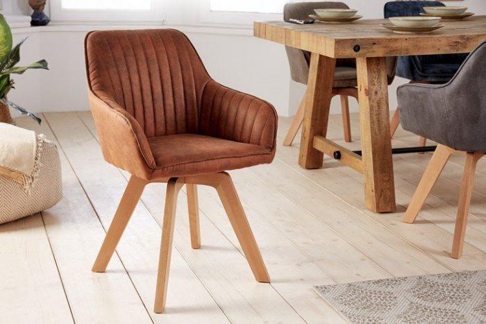 Krzesło obrotowe LIVORNO vintage brązowe 41313